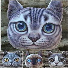 3D Cute Cat Face Pure Chair Car Cushion Throw Pillow Cover  Stuffed Plush Soft