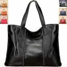 Women Simple Leisure Real Leather Tote Shoulder Extra Large Shopper Bag