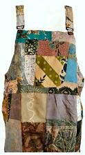 NEW FAIR TRADE INDONESIAN BATIK MULTICOLOURED PATCHWORK HIPPY DUNGAREES 510old