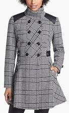 GUESS? winter Jacket Pattern Plaid Military 3/4 Coat Black and White  NEW пальто