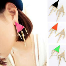 Pair Punk Gold Tone Spike Rivet Triangle Geometric Ear Stud Earring 3 Colors