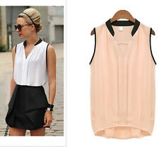 Womens Ladies Summer Casual Sleeveless Chiffon Shirt Vest Tops Loose Blouse