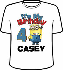 Many Tee Colors- Personalized It's My Birthday Minion T-Shirt