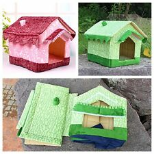 2015 lovely PET CAT DOG foldable with certains house kennel bed pink/green VILLA