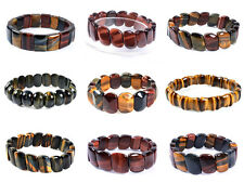 """Golden blue red tiger eye oval square beaded stretchable bracelet 7"""" to 7.5"""""""