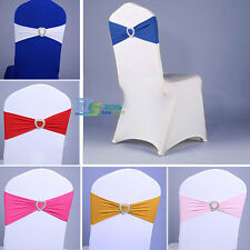 10pcs x Heart Stretch Spandex Wedding Chair Cover Sashes Band Bow Party Supplies