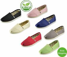 New A&A Women Slip-on Casual Flats, Solid Canvas Leisure Loafer Shoes (Classics)