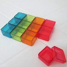 12-72 SMALL CLEAR COLOR SQUARE PLASTIC BOXES Tiny Items Jewelry Beads Storage 1""