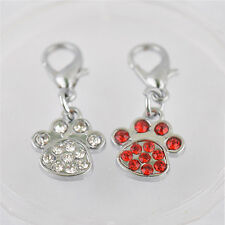 New Paw Shaped Rhinestone Jewelry Pendant Collar Charm Pet Tag Dog Supplies