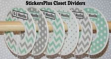 Custom Closet Dividers Clothes Organizer Hanger Boy Girl Mint Grey Chevron Dots