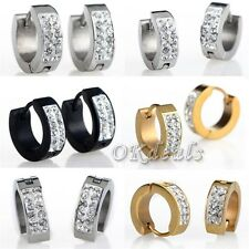 Punk Mens Womens Crystal Stainless Steel Ear Hoop Stud Earrings Huggie 1 Pair