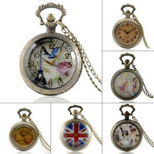 Antique Bronze Glass Cover Pocket Watch Necklace Quartz Pendant Chain Gift Retro
