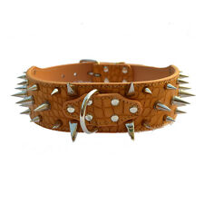 Brown Color 2''Wide Croc Leather Dog Collar Large Spiked Collars For Pitbulls