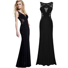 Sexy Women Formal Lace Sleeveless Long Evening Gowns Prom Wedding Party Dresses
