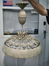 Vintage Mid Century Retro Ceiling Pull Down Light Lamp Ornate Metal Design