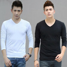 Fashion Men Slim Fit Cotton V-Neck Long Sleeve Casual T-Shirt Tops