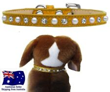 Dog Collar Small Narrow Gold Pearl Rhinestone  Chihuahua Teacup  Puppy Pet Toy