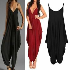 Womens Ladies Italian Lagenlook spaghetti strap Loose Fit HAREM Jumpsuit UK10-16