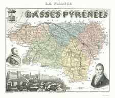 Old France Map - Basses-Pyrenees Department - Migeon 1869 - 23 x 27.14