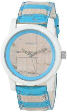 NEW-SPROUT WHITE,BLUE STRIPE CORK DIAL AND BAND ECO WATCH-ST/5521