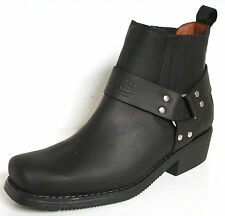 JOHNNY BULLS WESTERN LADIES COWBOY / BIKER STYLE LEATHER ANKLE BOOTS 4809 Black