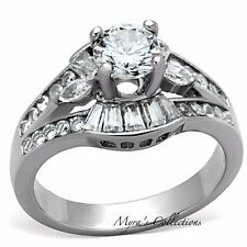 WOMEN'S ROUND CUT AAA CZ SILVER STAINLESS STEEL ENGAGEMENT WEDDING RING SZ 5-10