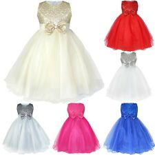 Flower Girl Kid Tutu Dress Sequins Princess Party Wedding Bridesmaid Tulle Gown!