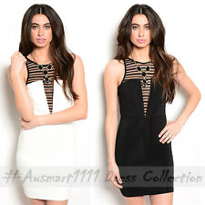 Sexy Casual Little Bodycon Sleeveless Black Stripe Mesh Keyhole Back Deep V Neck
