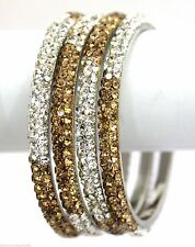 Indian Metal 3 Row Bling Lac Crystal Two Tone Clear Gold Bracelets Bangles 4pcs
