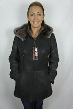 Brown 100% Sheepskin Shearling Leather Lambskin Coat Jacket removable Hood XS-5X