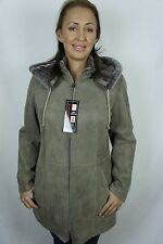 Beige 100% Sheepskin Shearling Leather Lambskin Coat Jacket removable Hood XS-5X