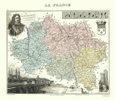 Old France Map - Allier Region - Migeon 1869 - 23 x 26.50