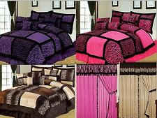 7PC Safari Leopard zebra Micro Suede Soft Bed in a Bag Comforter Set Curtain set