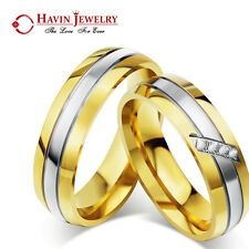 Men's Women's Stainless Steel Couple 18K Gold Band Ring CZ Crystal Wedding Gift