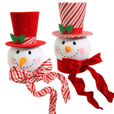 "RAZ~15"" Christmas Peppermint Candy Stripe Snowman Head/Hat Tree Topper~Ornament"