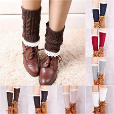 Gift Lace Girl Women Leggings Warmers Leg Winter Socks Crochet Knitted Boot f29