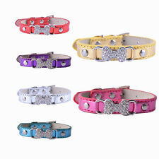 6 Colors Leather Dog Collar Rhinestone Bone Collar Charm Buckle Collar Small Pet