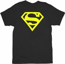 Adult Men's DC Comics Super Hero Superman Neon Yellow Logo Black T-shirt Tee