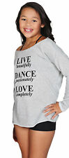 "Gray French Terry ""Live Dance Love"" Dance Sweat Shirt Junior Adult Sizes New"