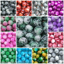 30 Round MOTTLED MARBLE EFFECT Glass Beads 12mm Beading Crafts Choose colour