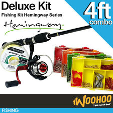 Hemingway 4ft Whipstik Fishing Rod Reel Deluxe Combo Kit - Boat Pack Kayak