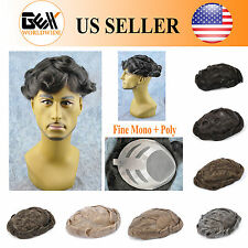 BHD Fine Mono+Poly Mens HairPiece Toupee Wig Poly Base Replacement System Bond