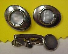 Cuff Links with Matching Tie Bar-Silver Tone with Abalone Stone  -12845C