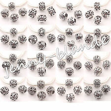 10 20 Tibet Silver Big Hole Carve Loose Spacer Bead Charm Jewelry Finding 10mm
