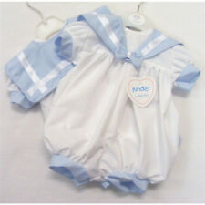 White and Pale Blue Baby Boy Sailor Romper Suit (REDUCED LAST ONES)