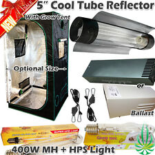 "Hydroponics 5"" Cool Tube Reflector 400w MH HPS Grow Light Ballast Grow Tent Kit"