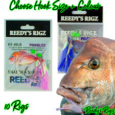 10 Snapper Snatchers Rig Fishing Rigs Flasher Bait Jig 60lb Bottom Hook
