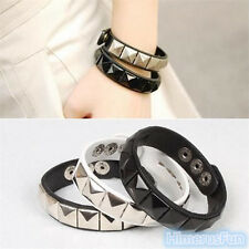 Fashion Punk Rock Mens Womens Rivet Black Leather Wristband Bracelet Bangle Cuff