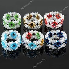 1pc Fashion Crystal Glass Faceted Flower Rondelle Bead Women Bracelet Bangle New