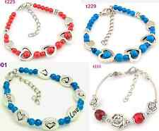 Tibetan Silver heart love rose flower Beaded Charm Chain Vinatge  Bracelet one